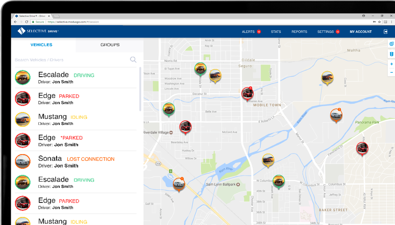 Fleet management maps give you a high-level overview of vehicles and drivers for Selective® Drive.