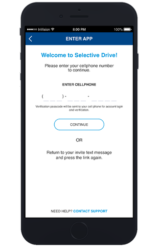 Log in to the portal to begin using the fleet management capabilities of Selective® Drive.