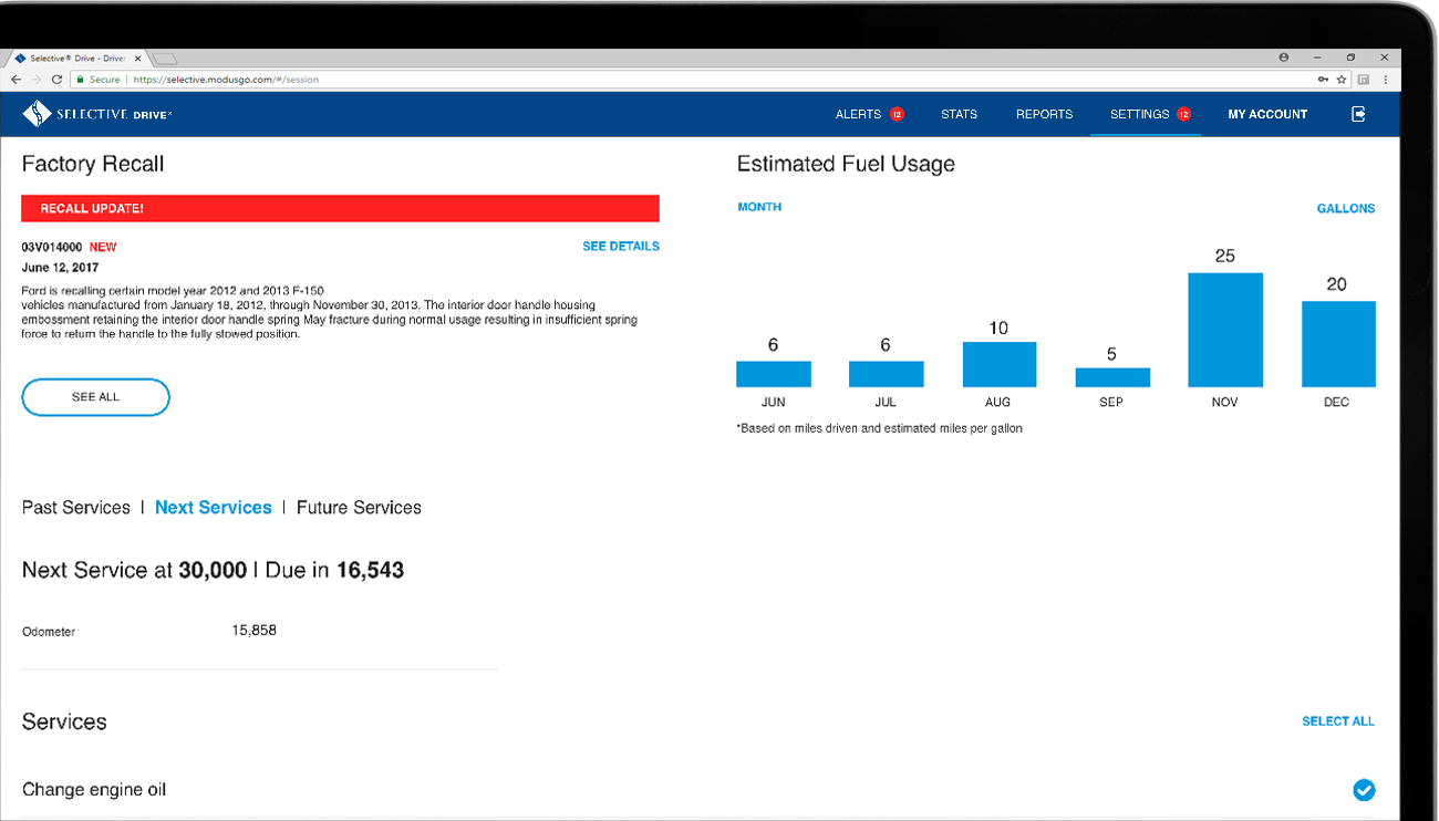 Understand maintenance for you fleet with the Vehicle health and Maintenance management dashboard.